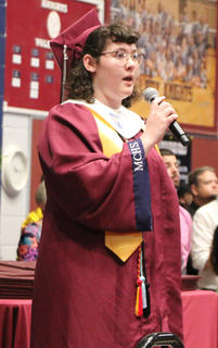 Gillian Mudd sang the national anthem at the beginning of MCHS graduation, May 25.