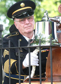 Bill Corbett rings a bell to honor each Marion County veteran who was killed in action.