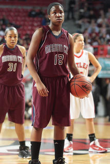 Sophomore guard Patrice Tonge prepares for a free throw in Marion County's win over Butler in the quarterfinals.