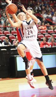Senior Bre Elder drives to the basket in the semifinal game against Lincoln County.