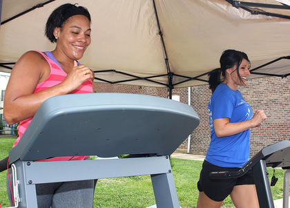 Autria Calhoun and Stefanie Spalding work up a sweat.