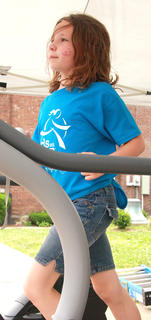 Madison Marshall, one of this year's Girls on the Run participants, did her part in the Treadmill Challenge.