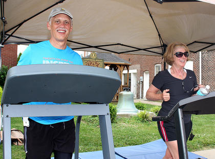 Greg Gottschlich and Ellen Benton took a detour during their morning jog Friday and donated $10 a piece to participate in the Treadmill Challenge.