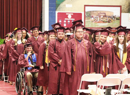 The MCHS graduating class of 2018 are all smiles during the commencement ceremony.