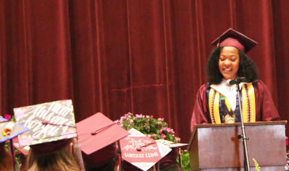 Leah Hazelwood speaks during the 2017 MCHS graduation ceremony.