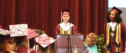 Collin Allen speaks during the 2017 MCHS graduation ceremony.