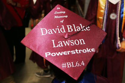 A friend of Blake Lawson's decorated his cap in his honor.