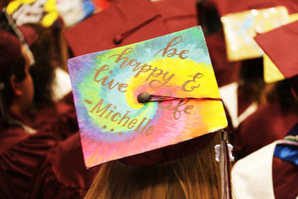 A friend of Olivia Ford's decorated her cap in her honor.