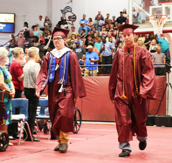 Graduating seniors enter the Roby Dome for MCHS 2018 graduation.