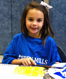 At Glasscock's Adventures in Music Camp, students explored several areas of the arts. Students produced paintings on canvas and played music. Pictured is Aubrey Benningfield.