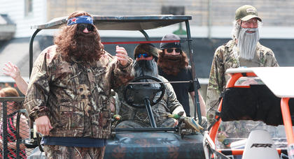 In a guest appearance, the cast of Duck Dynasty (or possibly some imitators) brought the parade to a close.