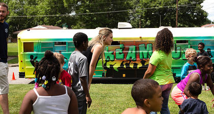 After building their towers inside The Dream Bus, students got to play shark tag outside.