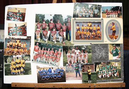 A collection of photos reflected Bell's long-time involvement with youth sports.
