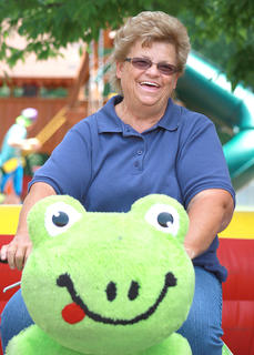 Sue Benningfield proves you don't have to be a kid to enjoy the Zippy Land rides.