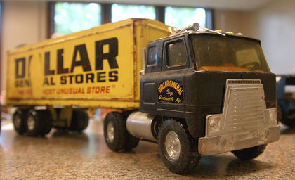 This Dollar General toy truck is  part of the collection of Kyle Raley.