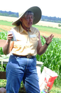 Donna Amaral-Phillips, a dairy specialist with UK Extension Services, speaks to a group of farmers.