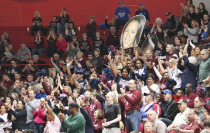 The Marion County crowd was pumped up during the 71-32 win over Montgomery County Friday afternoon.