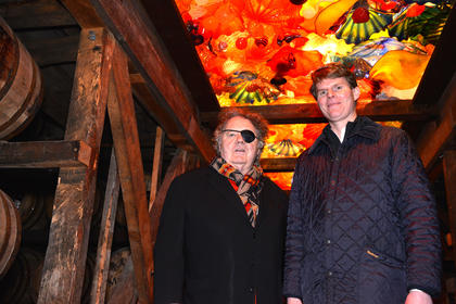 Three years ago, Rob Samuels (right), Maker's Mark eighth-generation whisky maker and chief operating officer, wrote a two-page, hand-written letter to world-renowned artist Dale Chihuly (left). Samuels and his daughter had seen an exhibition of his blown glass artwork at the Cheekwood Botanical Gardens and Museum of Art in Nashville, Tennessee, and Samuels hoped to bring Chihuly's stunning artwork to Maker's Mark Distillery in Loretto.