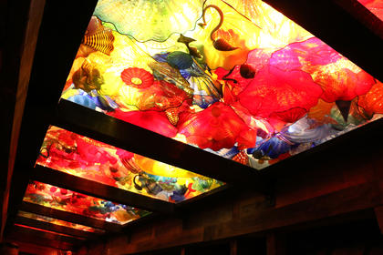 Dale Chihuly's first celebrated permanent installation at the distillery, The Spirit of the Maker, was unveiled in 2014 as a tribute to Maker's Mark's tradition of bourbon making in Kentucky. The installation consists of several unique Chihuly forms, massed together to create an immersive and ethereal experience.