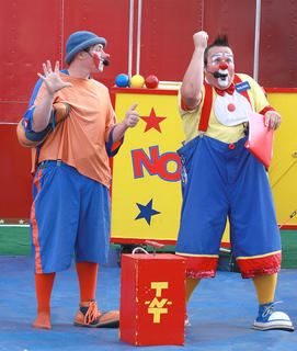 "Toot, left, and Nojoe set up the ""explosive"" finale of their early show July 2 at the Marion County Fair."