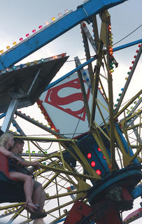 The Superman was one of the more popular rides at the fair July 1.