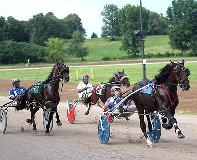 From left, Jamaal Denson and his horse Youcandoitifyoutry, James Latiker and his horse Hytech Hellion and Tyler Shehan and his horse Six Day Wars look to gain an early advantage during the harness races at the Marion County Fair July 3.