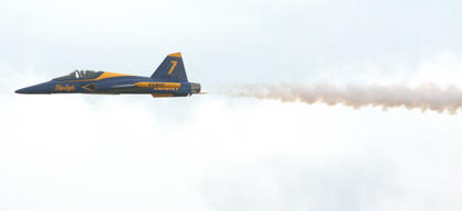 This jet is a scale model of the plane flown by the Blue Angels.
