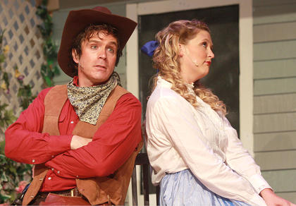 "Kentucky Classic Theatre presented ""Oklahoma!"" July 18-20 at Angelic Hall in Lebanon. The play, the first written by Richard Rogers and Oscar Hammerstein, is set in the Oklahoma territory before it became a state. Curly McLain (G.B. Dixon) and Laurey Williams (Tegan Hanks) spent a lot of time teasing one another despite their mutual romantic feelings."