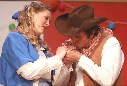Laurey Williams (Tegan Hanks) and Curly McLain (G.B. Dixon) agree to marry one another when they get a chance to talk privately after the square dance concludes.