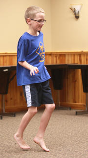 Andrew Lupachino works on learning a few new dance moves.