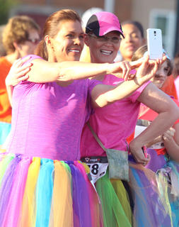 Kassy Jaglowicz and Karen Hall take a selfie at the starting line before the Back Tutu School 2.2-mile Family Fun Run/Walk.