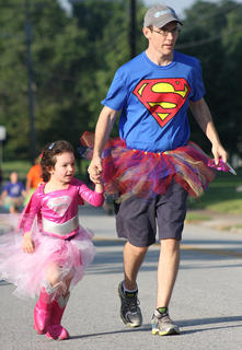 "Emerson Osbourne and her dad, Jesse Osbourne, were two of the ""Super"" participants in the Back Tutu School Run."