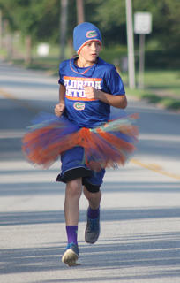 Harry Van Why IV leads the pack at the midway point of the Back Tutu School Run.