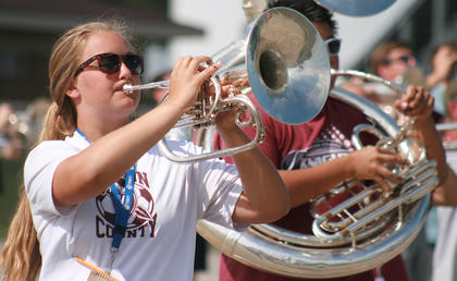 Freshman Claire Higdon plays the mellophone.