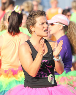 In a sea of color, Stevie Lowery could be seen cheering on runners from the sidelines.