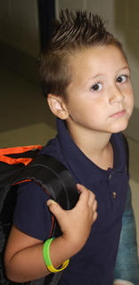 Braden Blanford shows off his unique style on the first day of school.