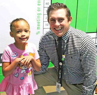 Principal Paul Terrell and student Nevaeh Rose Shepperson are ready for the school year.