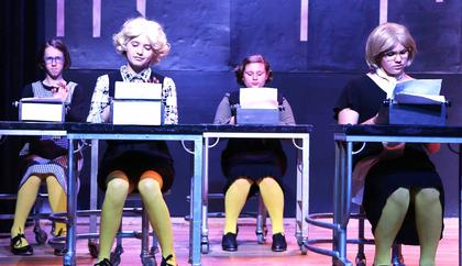 Sarah Jane Ford, Amber Perkins, Mia Mattingly and Zoey Blair play tap-dancing stenographers.