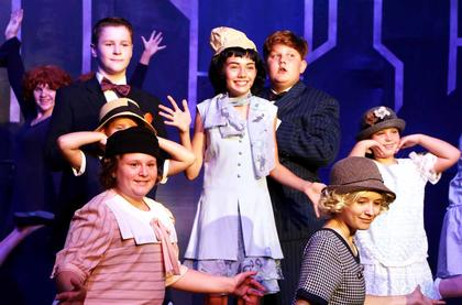 Pictured are Zoey Blair, Henry Spragens, Emma Blandford, Mia Mattingly, Elizabeth Morris, Cody Ballard, Amber Perkins and Brooke Absher, a colorful cast of characters living in New York City during the roaring 1920s.