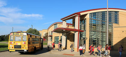 Students arrive at Marion County Middle School on the first day of school.