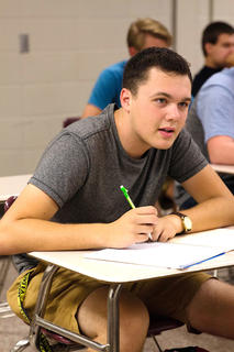 Senior Patrick Skaggs learns about safety in his class at the Marion County Area Technology Center.