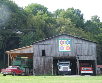 """Ronnie and Karen Kirkland's farm on Hwy. 337 has a four-panel design that can be seen from the road. It's called """"Flower Garden."""""""