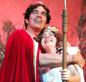 G.B. Dixon plays the part of Theseus, the duke of Athens, who is engaged to Hippolyta, played by Starr Garrett.
