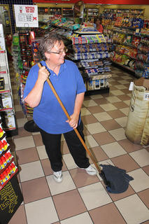 """I really like my job,"" Tracy Lucas said while sweeping the floor at Five Star on West Main Street. She said she loves the people and her co-workers. According to her, it's a ""Five Star family."""