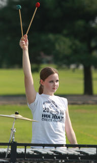 Adria Whitfill prepares to rehearse her part with the percussion section.