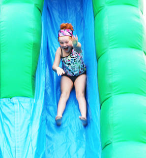 Autumn Rucker loves the giant slide.