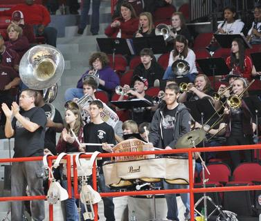The Marion County band plays during a break in action during the first round game of the state tournament against Bowling Green.