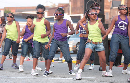 LEB Dance Team members strut their stuff. From left, they are Jaykell Johnson, Jaina Cowherd, Deyerra Spalding, Adarian Spalding, Ashanti Moffit and Deyenna Spalding.