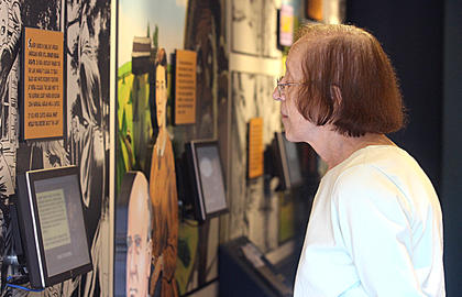 Sr. Nancy Finneran takes in the History Mobile's interactive exhibit about Kentuckians and the Civil War.