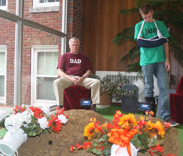 Scene five: Rodney Lanham (dad) and Justin Overstreet (Jason) mourn the loss of their family members, Lily and her mother.